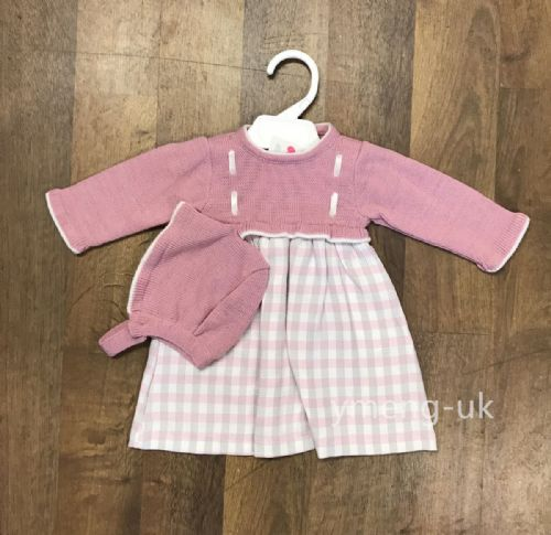 *SALE* Lovely Baby Girl Long Sleeve Pink Checked Dress with Hat